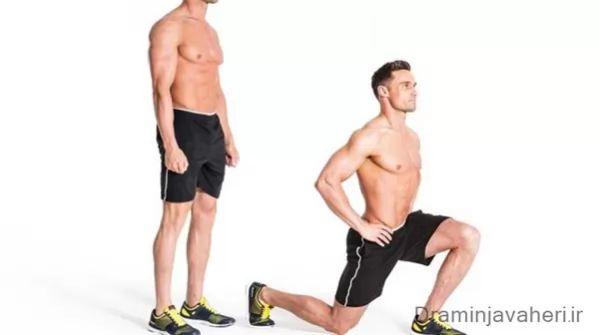 تمرین لانچ برای تقویت عضله چهار سر ران