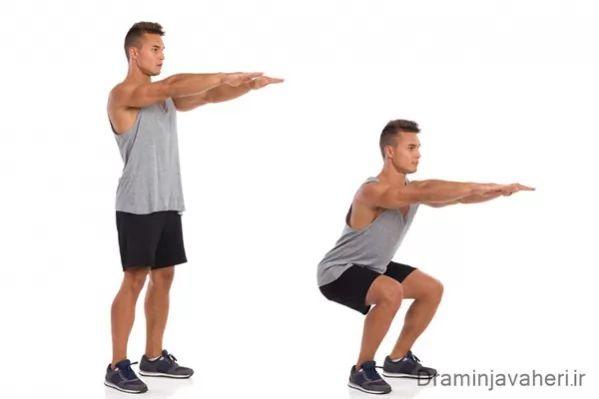 تقویت عضلات چهار سر ران با حرکت اسکات